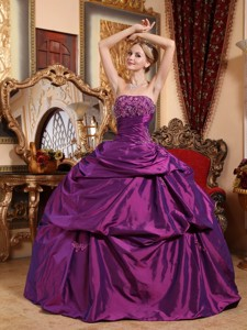 Eggplant Purple Ball Gown Strapless Floor-length Taffeta Beading and Appliques Quinceanera Dress
