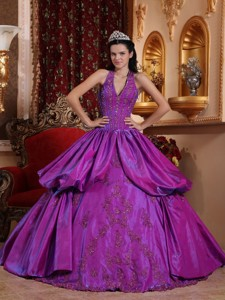 Purple Ball Gown Halter Floor-length Taffeta Appliques Quinceanera Dress