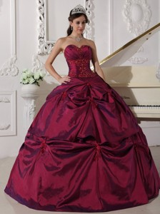 Fuchsia Ball Gown Sweetheart Floor-length Taffeta Appilques Quinceanera Dress