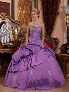 Lavender Ball Gown Sweetheart Floor-length Taffeta Appliques Quinceanera Dress