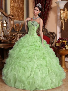 Yellow Green Ball Gown Sweetheart Floor-length Organza Beading and Ruffles Quinceanera Dress
