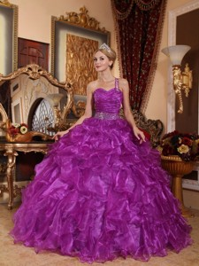 Purple Ball Gown One Shoulder Floor-length Organza Beading Quinceanera Dress