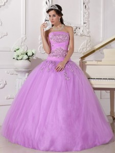 Lavender Ball Gown Strapless Floor-length Taffeta and Tulle Beading Quinceanera Dress