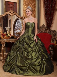 Olive Green Ball Gown Strapless Floor-length Taffeta Beading Quinceanera Dress