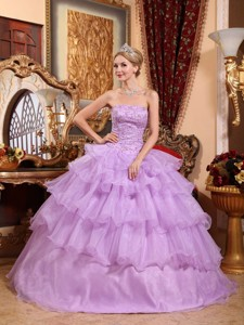 Lavender Ball Gown Strapless Floor-length Organza Beading Quinceanera Dress