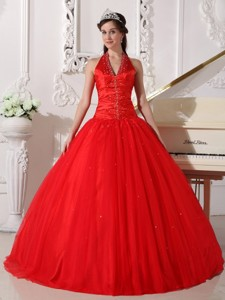 Red Ball Gown V-neck Floor-length Tulle Beading Quinceanera Dress