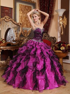 Fuchsia and Black Sweetheart Floor-length Beading and Ruffles Quinceanera Dress