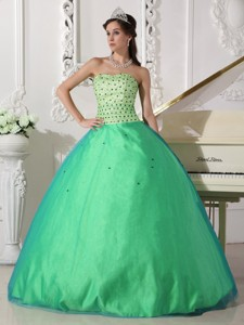 Spring Green Ball Gown Sweetheart Floor-length Tulle Beading Quinceanera Dress