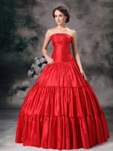Red Ball Gown Strapless Floor-length Taffeta Ruch Prom / Evening Dress