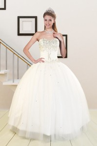 Sweetheart White Elegant Quinceanera Dress With Beading