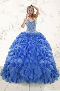 Hot Sale Beaded Royal Blue Sweet 15 Dress With Sweep Train