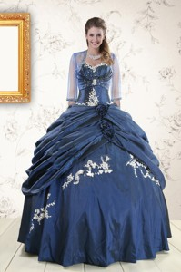 Perfect Sweetheart Navy Blue Quinceanera Dress With Wraps