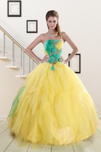 Classical Multi Color Quinceanera Dress With Hand Made Flowers