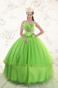 Spring Green Sweetheart Quinceanera Dress With Beading And Bowknot