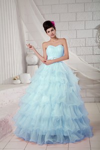Blue Ball Gown Sweetheart Floor-length Organza Beading Quinceanea Dress