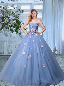 Elegant Strapless Lavender Organza Prom Gown With Colorful Appliques