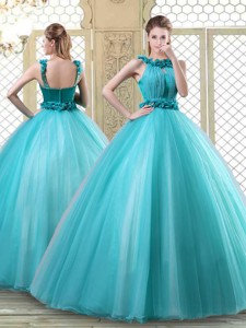 Pretty Bateau Quinceanera Dress With Ruffles In Teal