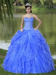 Beaded Ruffles Layered Decorate Famous Designer Quinceanera Dress With Sweetheart Blue Skirt
