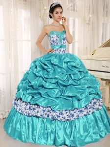 Beaded and Pick-ups For Aqua Blue Quinceanera Dress Taffeta and Printing