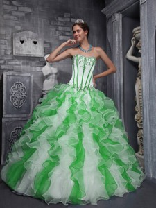 Sweet Ball Gown Sweetheart Taffeta and Organza Appliques Colorful Quinceanera Dress