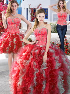 Modest Organza Detachable Quinceanera Dress With Beading And Ruffles