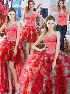 Popular Beaded And Ruffled Detachable Quinceanera Dress In Red And Grey
