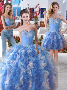 Pretty Blue And White Organza Detachable Sweet 16 Dress With Appliques And Ruffles