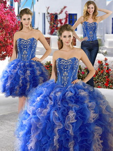 Best Applique And Ruffled Detachable Quinceanera Dress In Royal Blue And Champagne