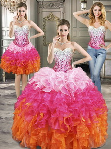 Beautiful Beaded And Ruffled Detachable Quinceanera Dress In Multi Color