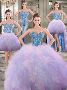 Perfect Big Puffy Rainbow Detachable Quinceanera Dress With Beading And Ruffles