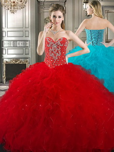New Style Red Tulle Sweet 16 Dress with Beading and Ruffles