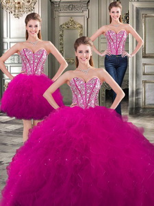 Wonderful Beaded And Ruffled Detachable Quinceanera Dress In Fuchsia