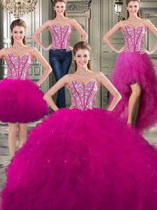 Discount Tulle Fuchsia Detachable Sweet 16 Dress With Beading And Ruffles