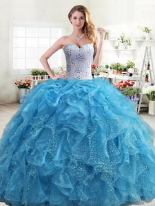 Exquisite Beaded and Ruffled Quinceanera Dress in Aqua Blue