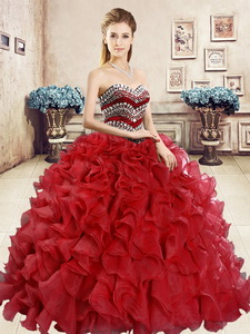 New Style Organza Red Sweet 16 Dress with Beading and Ruffles