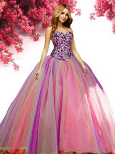 New Style Beaded Bodice Tulle Quinceanera Dress in Rainbow