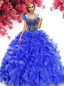 Popular Royal Blue Organza Quinceanera Gown with Beading and Ruffles