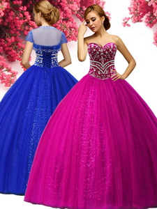 Best Selling Beading Tulle Sweet 16 Gown in Fuchsia