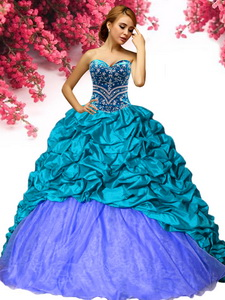 New Beaded and Pick Ups Sweet 16 Dress with Brush Train