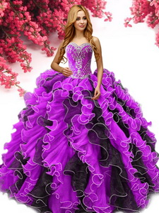 Best Two Tone Organza Quinceanera Dress with Beading and Ruffles