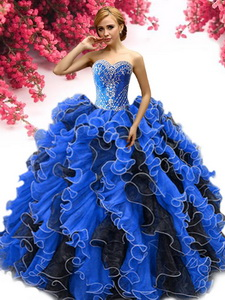 Inexpensive Beaded and Ruffled Sweet 16 Dress in Royal Blue and Black