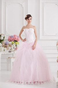 Ball Gown Sweetheart Tulle Baby Pink Quinceanera Dress With Appliques Beading