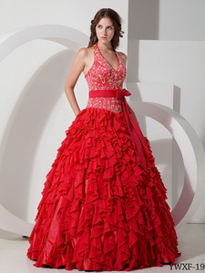 Ball Gown Halter Chiffon Embroidery Quinceanera Dress in Red
