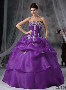 Ball Gown Sweetheart Floor-length Organza Appliques Quinceanera Dress
