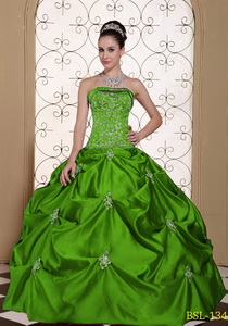 Embroidery Taffeta Strapless Modest Quinceanera Dress with Pick-ups