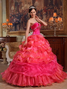 Red Ball Gown Sweetheart Floor-length Taffeta and Organza Beading Quinceanera Dress