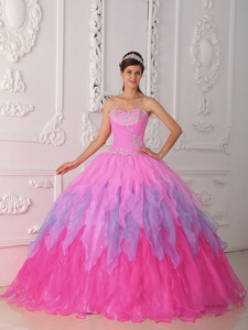 Baby Pink Ball Gown Sweetheart Floor-length Organza Beading and Ruch Quinceanera Dress