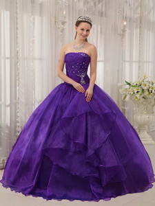 Eggplant Purple Ball Gown Strapless Floor-length Organza Beading Quinceanera Dress
