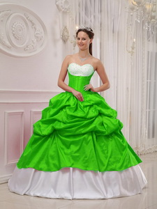 Spring Green and White Ball Gown Sweetheart Floor-length Taffeta Beading and Pick-ups Quinceanera Dr
