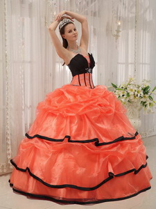 Orange and Black Ball Gown Strapless Floor-length Satin and Organza Beading Quinceanera Dress